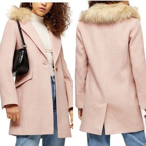 NWOT topshop pink coat with removable faux fur